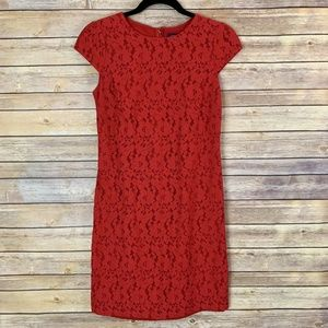 Tommy Hilfiger Size 2 Red Lace Sheath Dress